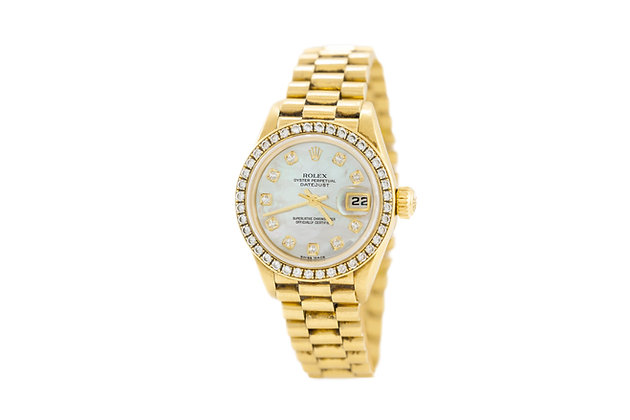 1995 Gold Rolex Ladies Datejust Watch with Diamonds