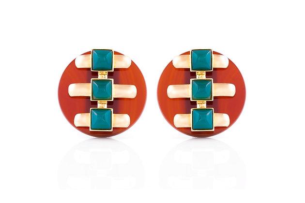 Cartier Earrings Aldo Cipullo Carnelian And Chrysoprase front