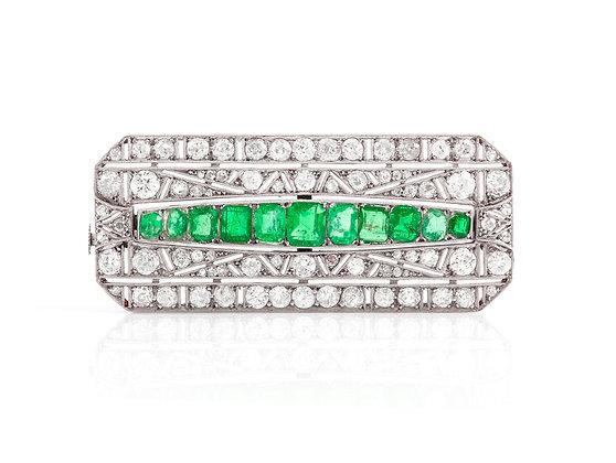 Art Deco Emerald Brooch front