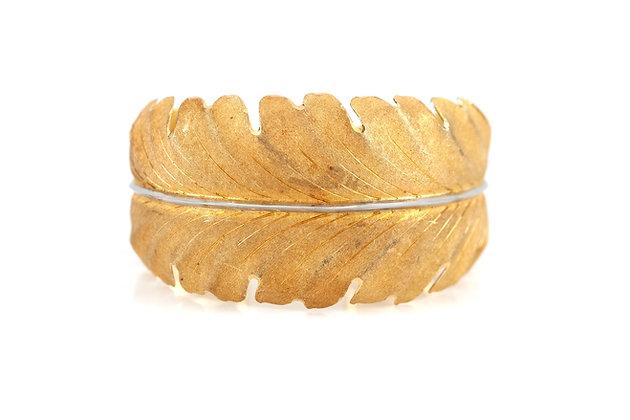 Buccellati 18 Karat Cuff Leaf Bracelet front view