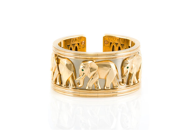 Cartier Walking Elephant Gold Cuff Bracelet Front view