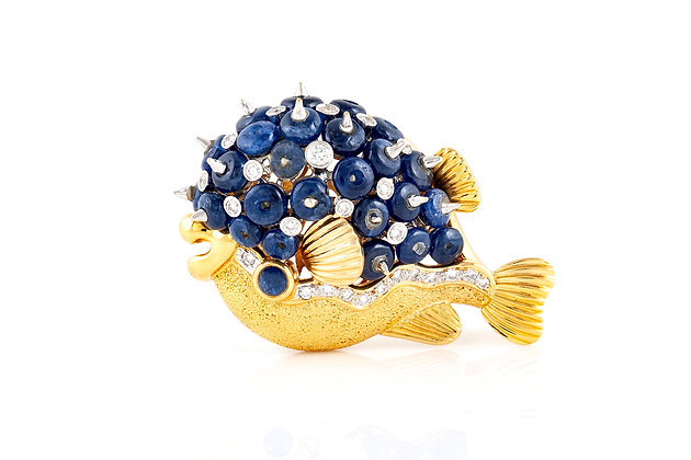 Blowfish Sapphire And Diamond Brooch Front View