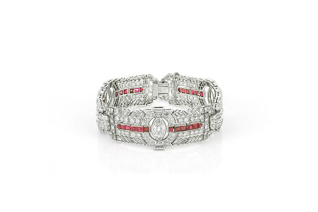Art Deco Diamond & Ruby Bracelet front view