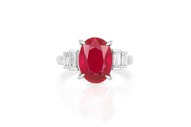 5.39 Carat Cushion Cut Ruby & Diamond Ring top view