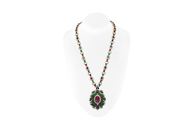 Diamond Ruby Sapphire Emerald Pendant Necklace Front View