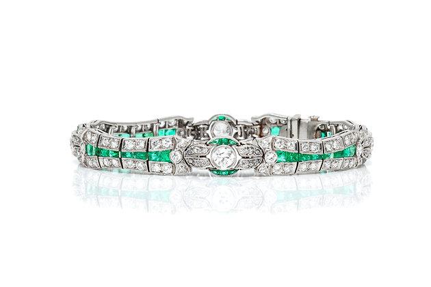 Emerald Diamond Bracelet Front View