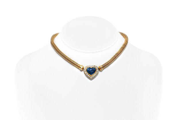 Sapphire Diamond Heart Necklace On Neck View