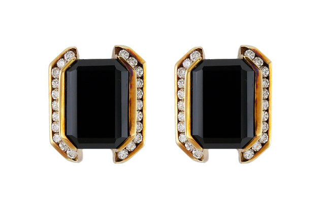 Onyx Clip-On Earrings with Diamonds front