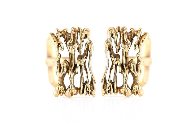 Rough Gold Cufflinks front
