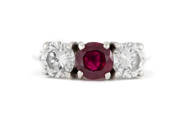 1970s Engagement Ring with Ruby and Diamonds