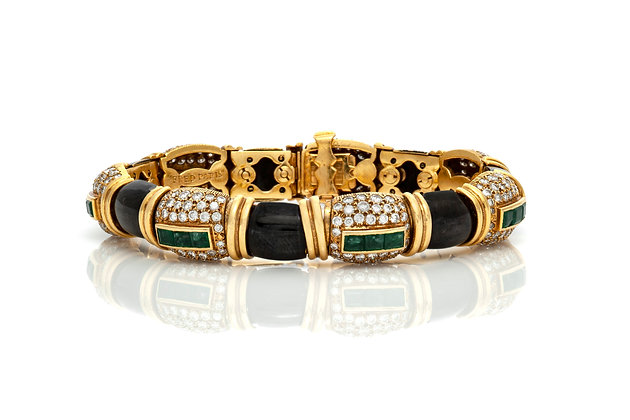 Fred Paris Black Enamel Emerald Diamond Bracelet Front View
