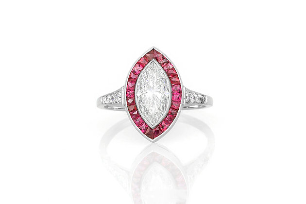 1.60 Marquise Cut Diamond & Ruby Ring top view