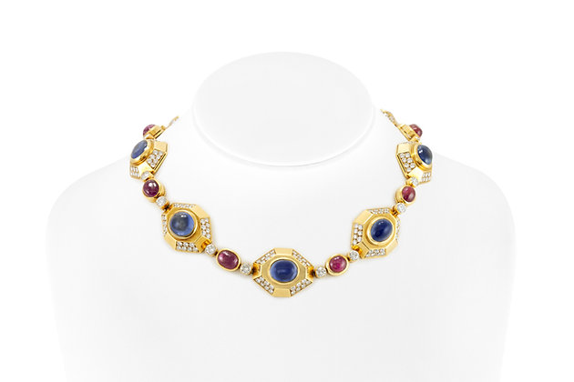 BVLGARI NECKALCE WITH SAPPHIRE AND RUBY