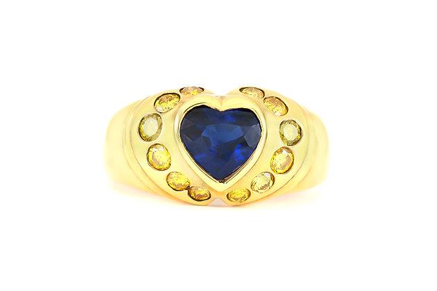 Ceylon Sapphire Heart and Yellow Diamonds Ring