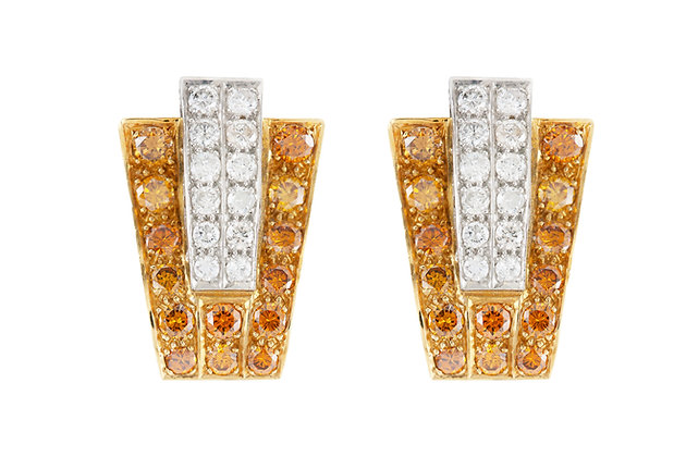 Trapezoidal Diamond Clip-On Earrings front