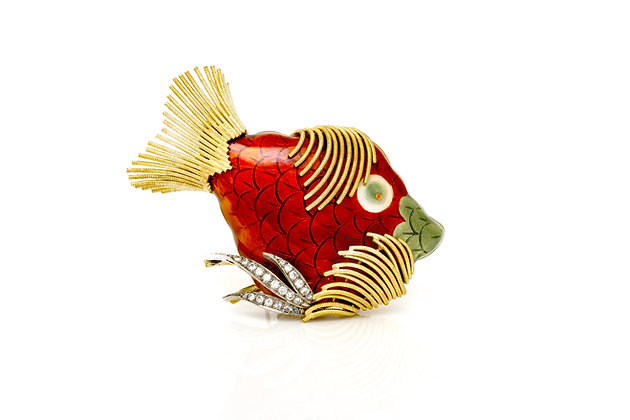 Enamel Fish Brooch Front View
