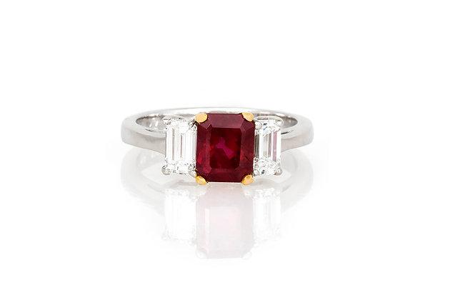 1.80 Emerald Cut Ruby & Diamond Ring top view