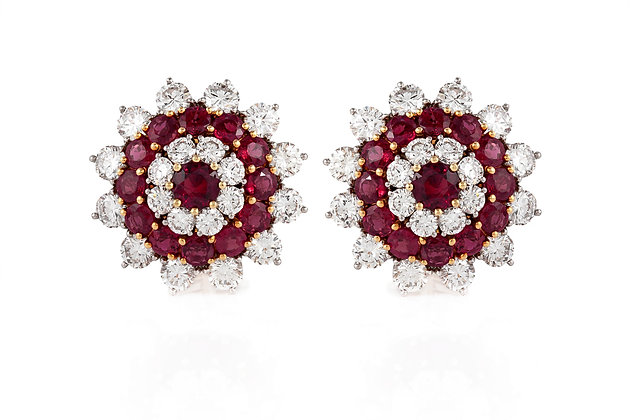 Ruby And Diamonds Cluster Flower Earrings Front View