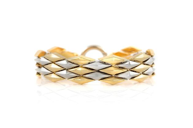 Unisex Two Tone Gold Bracelet front