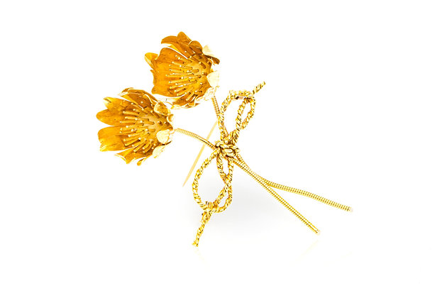 Hermes Flower Brooch Front View