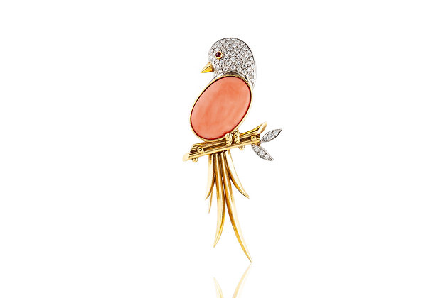 Vintage Coral And Diamond Bird Brooch Front View