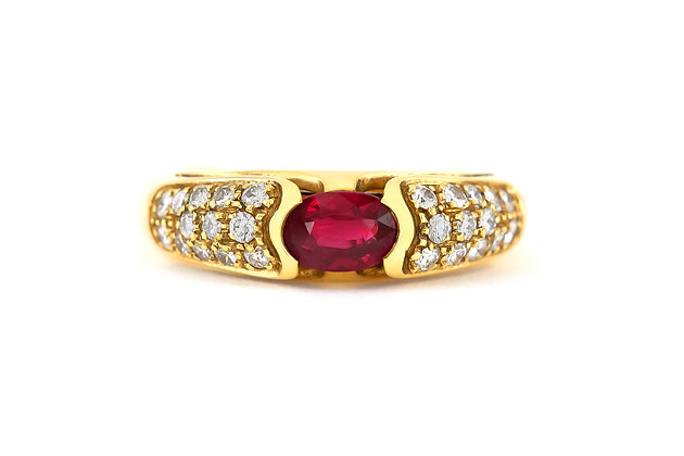 1970s Engagement Ring with Center Ruby and Diamonds