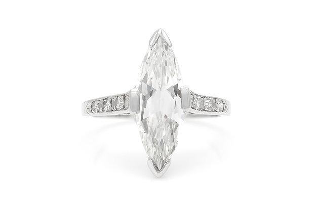 Art Deco 1.74 Carat GIA Marquise Cut Diamond Engagement Ring