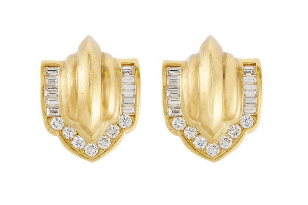 Decorative Diamond Clip-On Earrings front