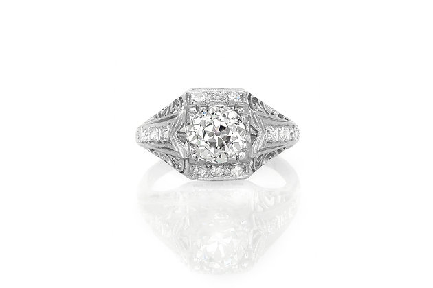 1.38 Carat Art Deco Engagement Ring