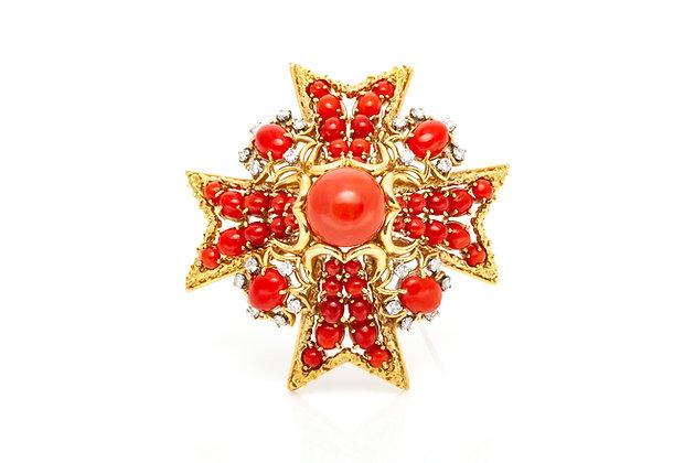 Coral Diamond Cross Pin
