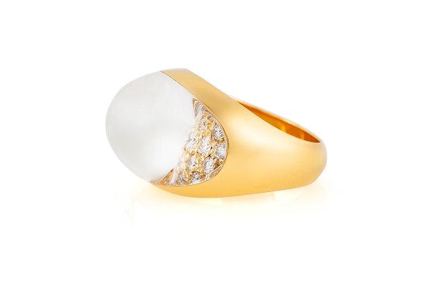 Vintage Myst De Cartier Rock Crystal And Diamond Ring