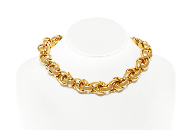 Triple Link Gold Choker Necklace On Neck View