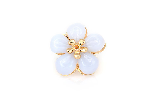 Dior White Jade Flower Ring top view