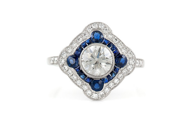 GIA Diamond and Sapphire Ring top
