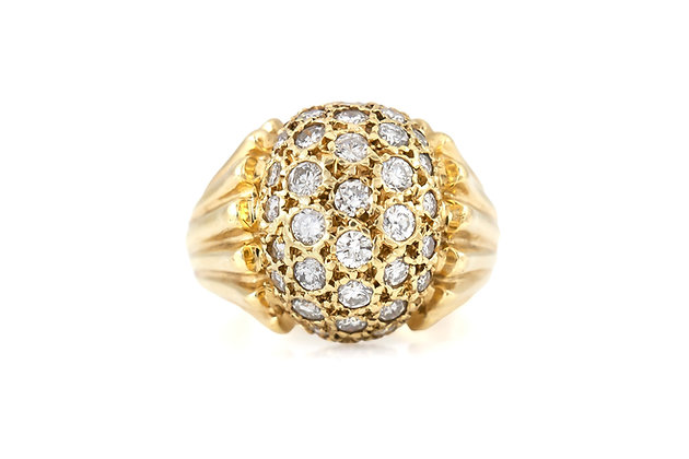 1950s Gold Ring with Diamonds