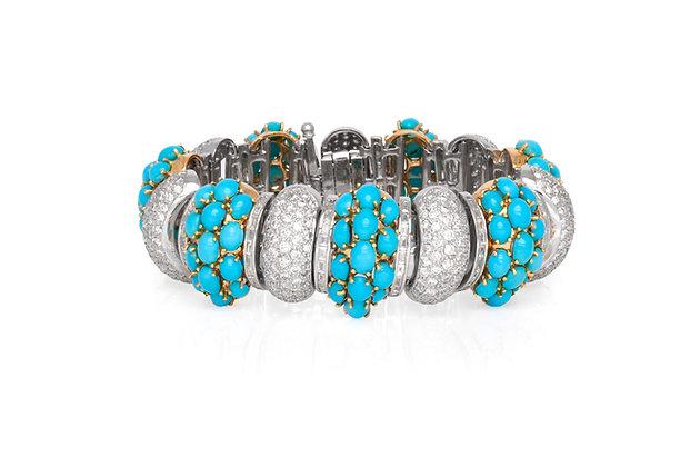 Turquoise Diamond Bracelet Front View