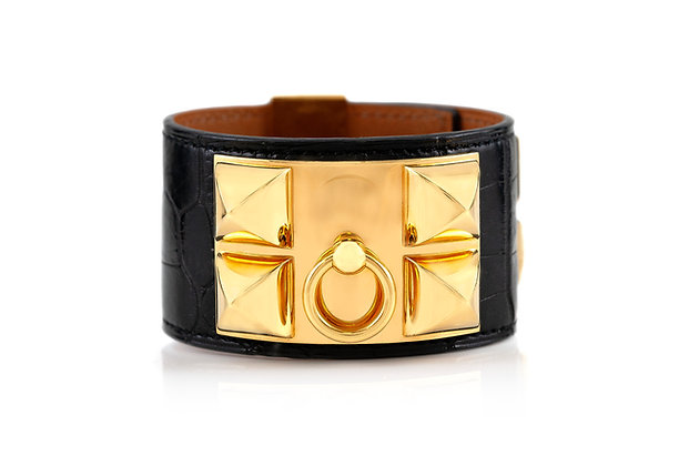 Hermes Lizard Black Leather Cuff Bracelet front view
