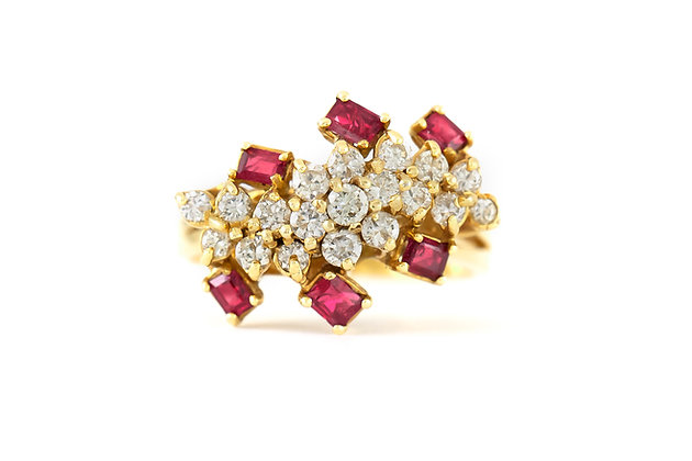 1970s Round Diamonds and Square Rubies Ring