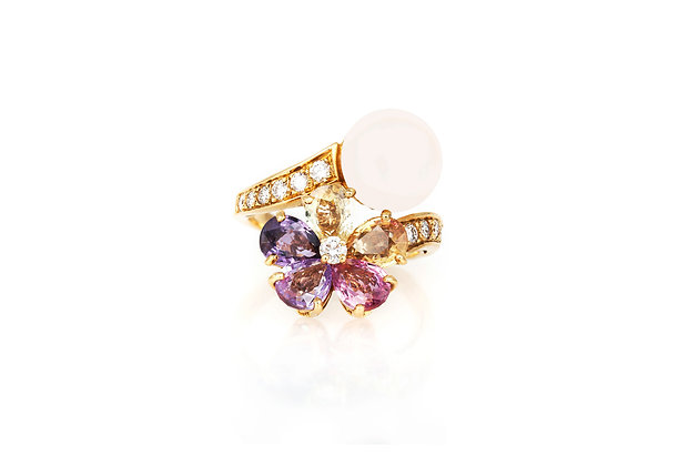 Bvlgari Pearl and Multicolor Sapphire Flower Ring with Diamonds