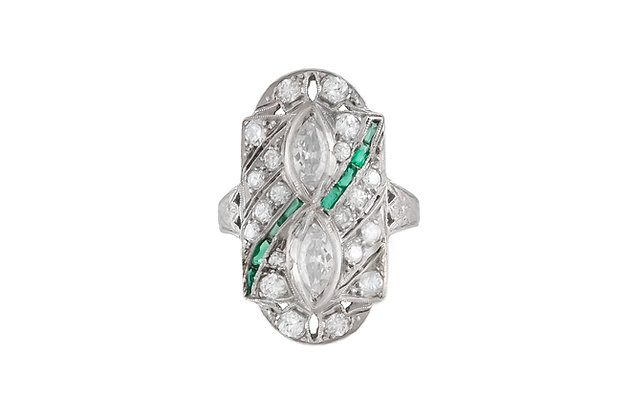 1930's Art Deco Emerald Stone, Marquise and Round Diamonds Ring