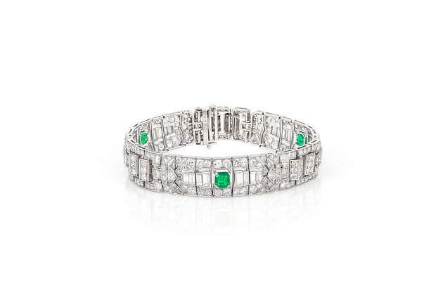 Art Deco Emerald & Diamond Bracelet front view