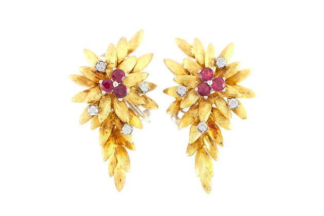 Long Flower Ruby and Diamond Earrings front