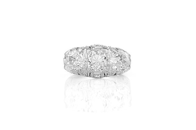 Three Stone Art Deco Ring