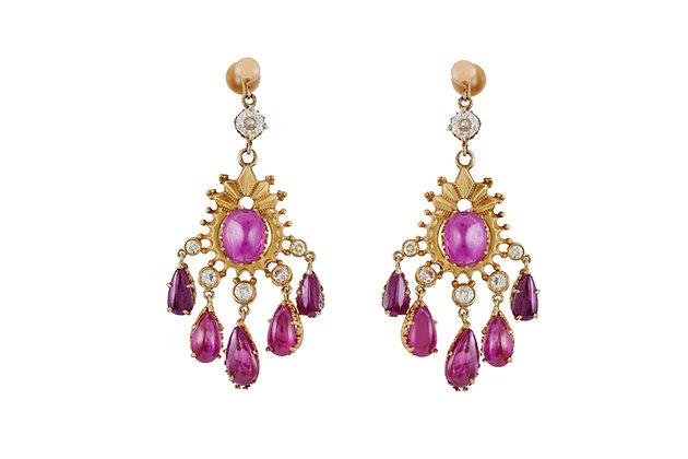 Drop Ruby and Diamond Earrings