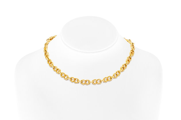Hammered Gold Chain Front View