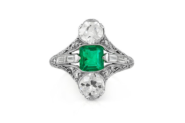Edwardian J. E. Caldwell Emerald And Diamonds Navette Ring Front  View