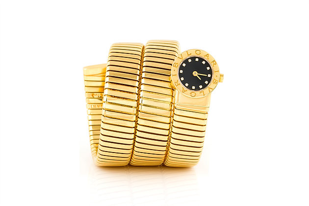 Gold Bvlgari Tubogas Watch With Black Diamond Dial Front