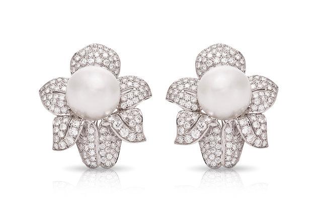 Diamond Pearl Earrings Front View