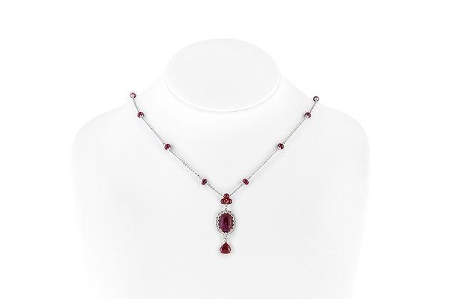 Oval Cabochon Ruby Pendant Neck View