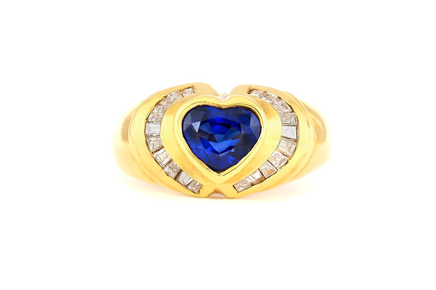 Synthetic Heart Sapphire and Diamonds Ring
